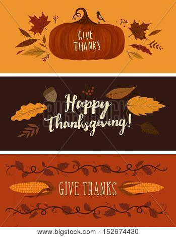 Thanksgiving day greeting cards. Hand-drawn illustration.