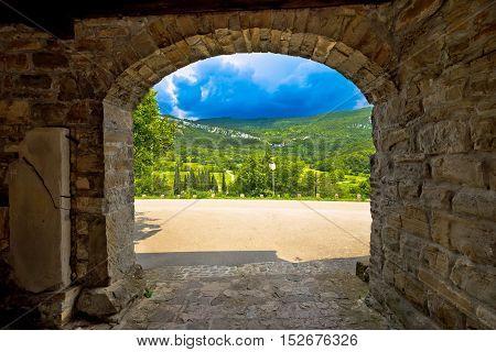 Stone town gate of Roc and landscape of Istria Croatia
