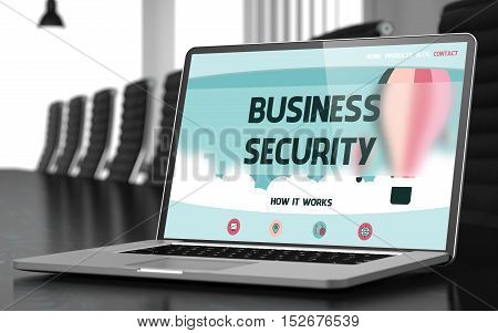 Business Security on Landing Page of Mobile Computer Screen in Modern Meeting Hall Closeup View. Toned. Blurred Image. 3D Illustration.