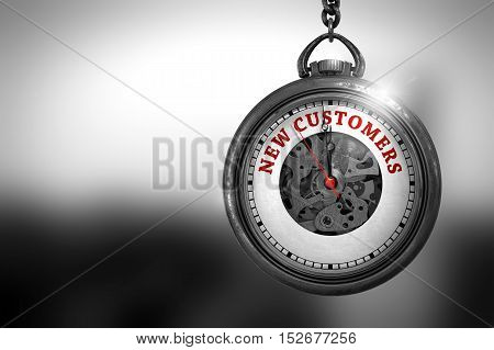 Business Concept: Vintage Pocket Watch with New Customers - Red Text on it Face. Vintage Watch with New Customers Text on the Face. 3D Rendering.