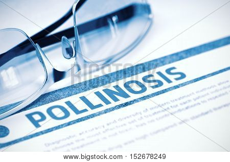Diagnosis - Pollinosis. Medicine Concept with Blurred Text and Specs on Blue Background. Selective Focus. 3D Rendering.