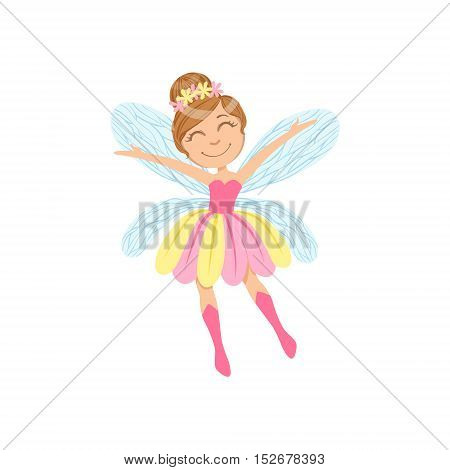 Cute Fairy In Pink And Yellow Dress Girly Cartoon Character.Childish Design Fairy-tale Creature Simple Adorable Illustration.