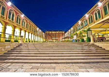 Prokurative square in Split evening view Dalmatia Croatia