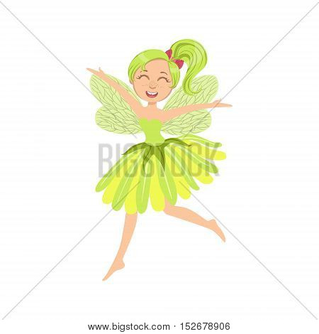 Cute Fairy In Green Dress Girly Cartoon Character.Childish Design Fairy-tale Creature Simple Adorable Illustration.