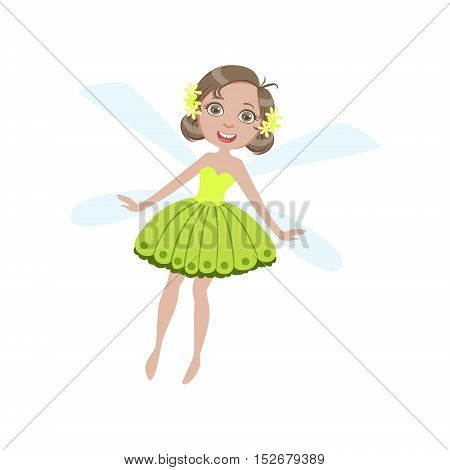 Cute Fairy With Dragonfly Wings Girly Cartoon Character.Childish Design Fairy-tale Creature Simple Adorable Illustration.