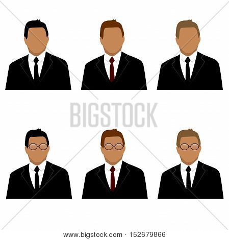 Very high quality original trendy vector set of man in suit avatars with tie, glasses, jacket and different hair color can be used for icons, business design, annual reports and infographics or other concept
