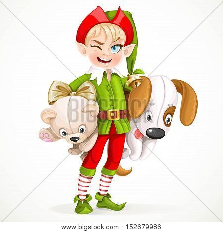 Cute Boy Elf Santa's Assistant Holding Underarm Large Plush Toy Dog And Teddy Bear Isolated On A Whi