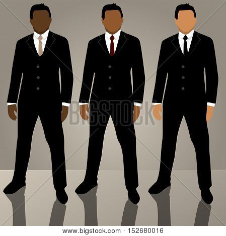 Very high quality original trendy vector set of man in suit with tie, glasses, jacket and different hair color and nationality with realistic reflection on a floor, can be used for icons, business design, annual reports and infographics or other concept