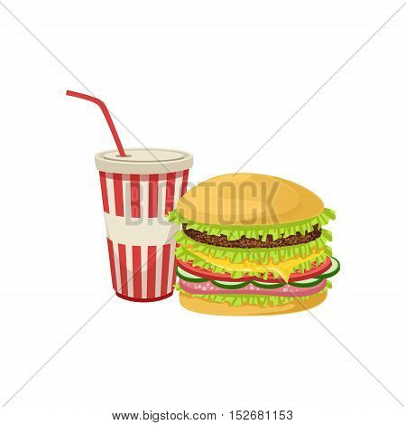 Burger Combo Street Food Menu Item Realistic Detailed Illustration. Take Away Lunch Icon Isolated On White Background.