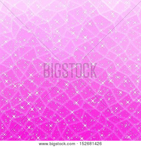 Pink polygonal gleaming background with little stars
