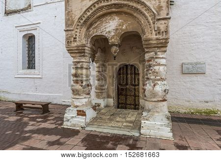 Rostov Russia - September 13 2016: the porch of the Church of the Vernicle on the porch in the Rostov Kremlin.