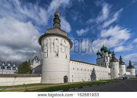 Rostov Russia - September 13 2016: the Towers and walls of the Rostov Kremlin.
