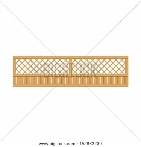 See-Through Wooden Fence Design Element Template. Edging Creative Landscape Idea Icon On White Background.