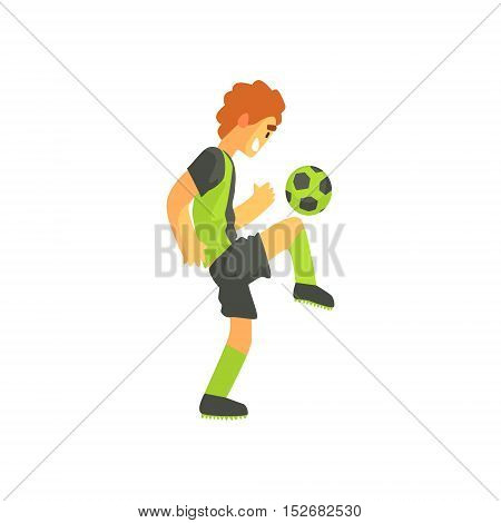 Football Player With Ball On The Knee Isolated Illustration. Flat Cartoon Character In Simple Childish Style Vector Drawing.