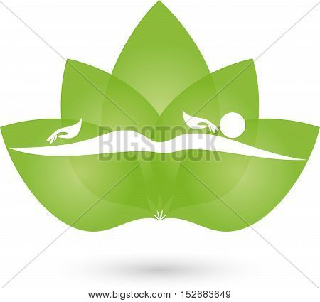Human and hands, leaves, massage and naturopathic logo