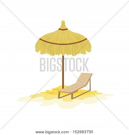 Umbrella And Sunbed Hawaiian Vacation Classic Symbol. Isolated Flat Vector Icon With Traditional Hawaiian Representation On White Bacground.