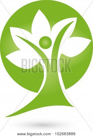 Human and plant, leaves, tree, nature, logo