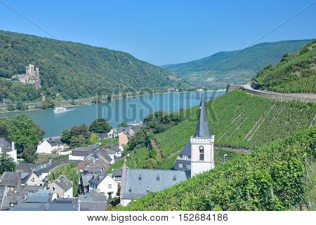Wine Village of Assmannshausen at Rhine River near Rudesheim am Rhein,Rheingau,Germany