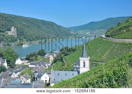 Wine Village of Assmannshausen at Rhine River near Rudesheim am Rhein,Rheingau,Germany