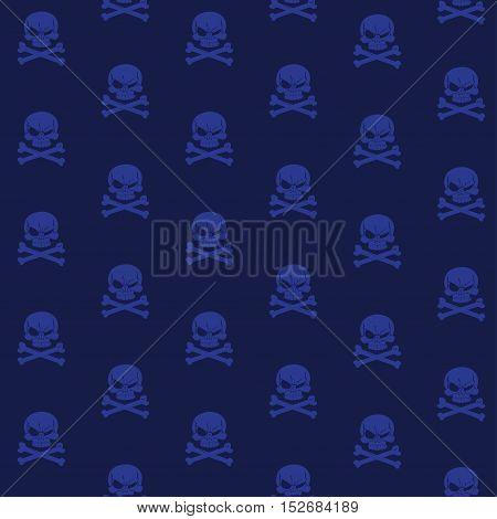 Dark Blue seamless background wirh Jolly Roger