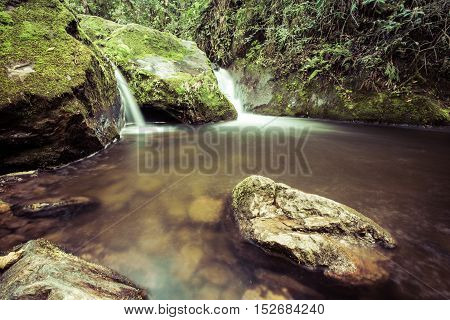 River Waterfalls In The Jungles With Green Mountains, Cocora Valley, Colombia, Latin America