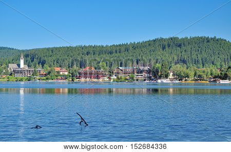 Village of Titisee at Lake Titisee in Black Forest,Germany