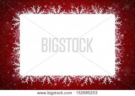 Vector Rectangle White Frame Snowflake. Falling Snow. Red Winter Frame Background. Winter Snowfall. Holidays New Year and Merry Christmas.