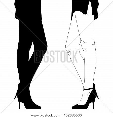 Hand Drawn Female Legs in Shoes on High Heels. Black Silhouette of Graceful Woman's Legs in a Short Skirt with a Slit isolated on White. Vector Illustration.
