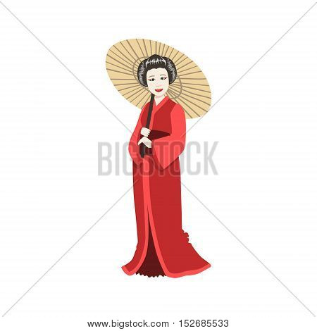 Japanese Geisha With Paper Umbrella. Simple Realistic Character On White Background With Traditional Culture Symbols
