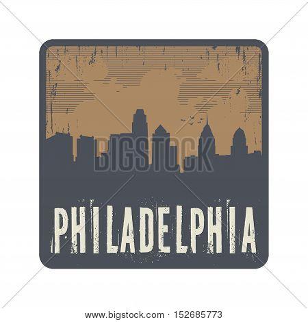 Grunge vintage stamp with text Philadelphia vector illustration