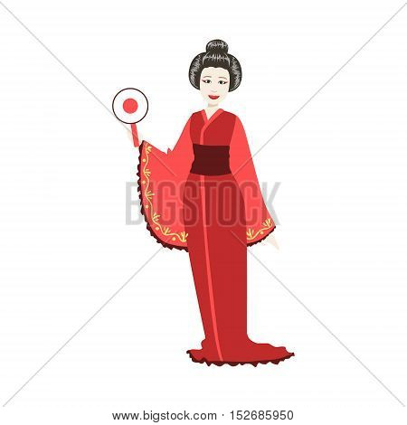 Japanese Geisha With Round Fan. Simple Realistic Character On White Background With Traditional Culture Symbols