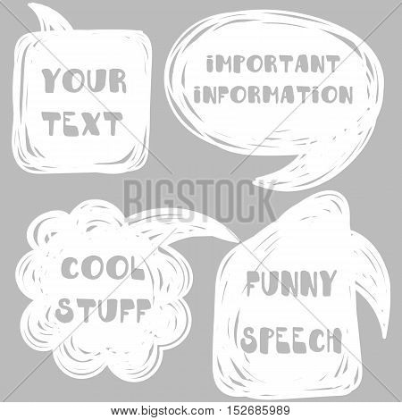 Vector hand drawn scribble speech bubbles. Talk frame balloon from line for thought, message, conversation, text, idea, comics