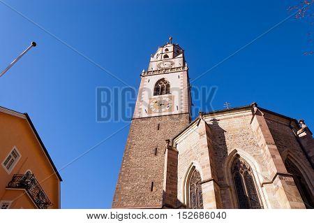 Gothic cathedral of St. Nicholas (San Nicolo) (1302-1465) in Merano Bolzano Trentino Alto Adige Italy