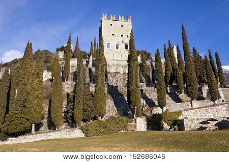 Ancient ruins of the castle of Arco di Trento (year 1000) in Trentino Alto Adige Italy Europe