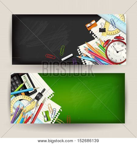 Set of two Back to school horizontal banners. Templates with supplies tools on classroom chalkboard. Place for your text. Layered realistic vector illustration.