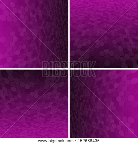 Set Abstract Honeycomb Halftone Effect Vector Background. Perspective Halftone Vector Background. Vector Background with Copy-Space. Purple Perspective Background. Vector illustration for Web Design.