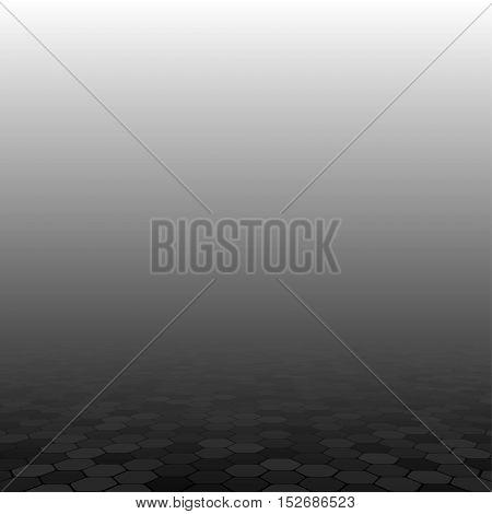 Mosaic Tile Honeycomb Vector Background. Perspective Comb Halftone Fone. Black Background. Vector illustration for Web Design.