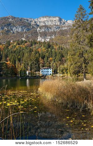 Lago di Cei (Cei Lake) small alpine lake in Italian Alps. Trento Trentino Alto Adige Italy Europe