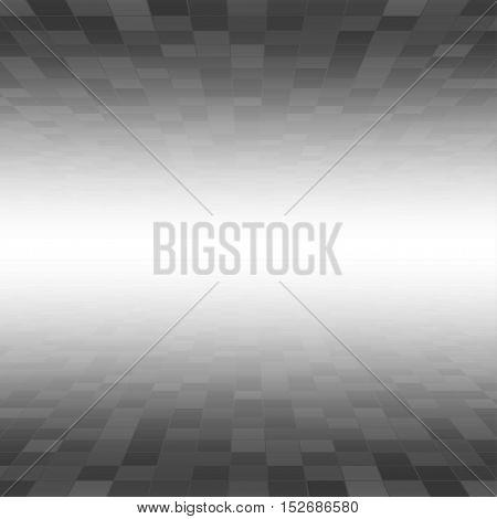 Mosaic Tile Square Vector Background. Perspective Halftone Fone. Black Background. Vector illustration for Web Design.