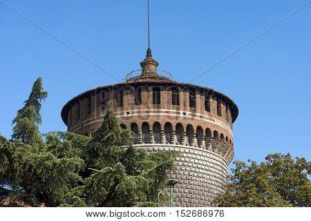 Detail of the Torrione di Santo Spirito (Tower of Holy Spirit) Sforza Castle XV century (Castello Sforzesco). Milan Lombardy Italy