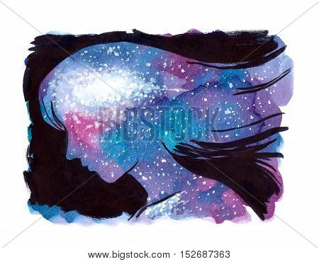Universe galaxy watercolor painting inside woman head and soul. Conceptual illustration of happiness mind