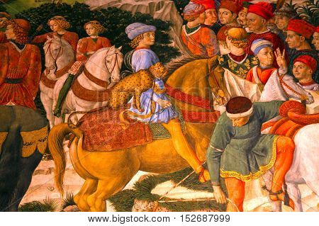 FLORENCE, ITALY - JANUARY 12, 2016: Fragment of medieval fresco in Palazzo Medici Riccardi, Florence, Italy