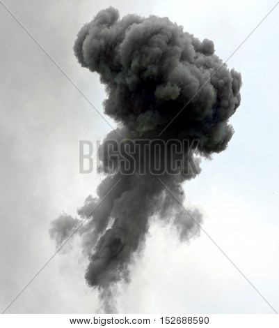 Big Explosion With Black Cloud