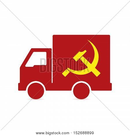 Isolated Delivery Truck With  The Communist Symbol