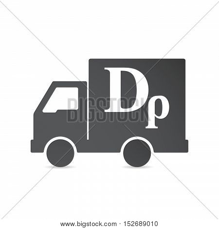 Isolated Delivery Truck With A Drachma Currency Sign