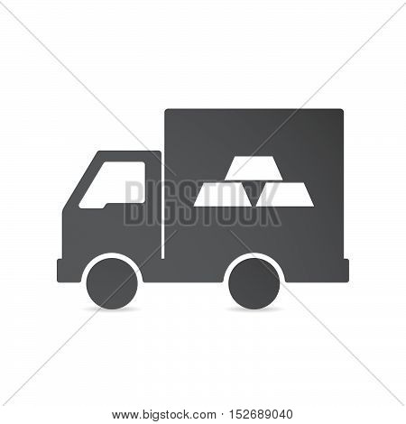 Isolated Delivery Truck With Three Gold Bullions