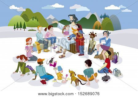 Jesus Christ is surrounded by a circle of children and he teach they with love.