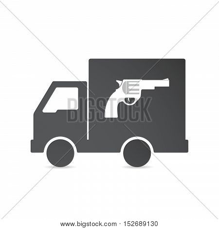 Isolated Delivery Truck With A Gun