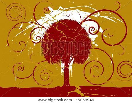 Grunge maroon and gold tree set on a cracked aged background
