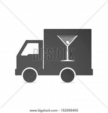 Isolated Delivery Truck With A Cocktail Glass